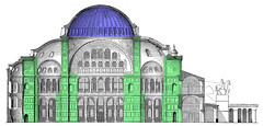 Elevation with Dome in Blue and Piers in Green