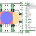Plan with Dome in Blue, Pendentives in Red, Half Domes in Yellow, and Piers and Masonry Supports in Green