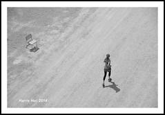 Is It About Timing Or Something Else? - Burrard Bridge N14724e (Harris Hui (in search of light)) Tags: street bw canada monochrome vancouver mono blackwhite chair nikon bc walk streetphotography richmond story burrard harris lookingdown digitalbw runner hui storytelling burrardbridge d300 candidphotography themoment streetcandid livethemoment nikon18200mmvr nikonuser thisisthemoment nikond300 harrishui vancouverdslrshooter walkonthebridge cherisheverythingyouownrightnow achairandarunner lookingfromthetopofbridge sitorrun