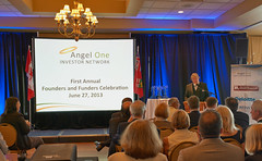 """Angel One Chair, Larry Innanen, welcomes audience to the first Founders and Funders Celebration. • <a style=""""font-size:0.8em;"""" href=""""https://www.flickr.com/photos/124986169@N08/14325092273/"""" target=""""_blank"""">View on Flickr</a>"""