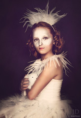 White Rabbit ({jessica drossin}) Tags: light red pet white rabbit bunny art girl make up fashion canon dark hair child natural fine feathers dramatic dancer textures freckles tulle jessicadrossin wwwjessicadrossincom jdbeautifulworldcollection