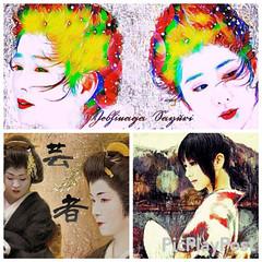 日本の女性3画コラージュアニメーション風