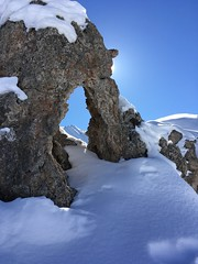 happy face ( explored 8.3.17) (AngharadW) Tags: pymtheg hole angharadw france snow rocks blue sky sun