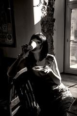 Kira (Katharina Berliner) Tags: girl woman blackandwhite cafe coffe france style light contrast shadows kiratyo frenchwoman frenchgirl nikond90 sepia