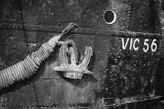 VIC 56 (ShrubMonkey (Julian Heritage)) Tags: vic56 steam ship boat wartime vessel bow anchor rivets chatham chathamhistoricdockyard moored kent bw mono nautical