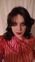march 2017 - video of my satin blouse and pvc pencil skirt (cilii_77) Tags: tgirl transgender crossdresser crossdressing satin blouse pvc skirt pencil makeup pearls lipstick elegant dinner outfit