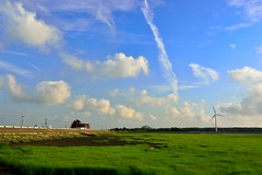 Sunny day at Kaomei Wetland  (Vincent_Ting) Tags: sunset sky water windmill silhouette clouds taiwan  formosa   windturbine wetland