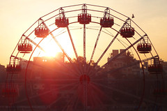 Empty ride at the sunrise! ! (PhotoScientist) Tags: red sky sun color bird lines wheel silhouette contrast sunrise circle alone ride circles empty branches sony silhouettes structure formation journey hanging pointandshoot backlit pune icapture swerl swerls zbridge wx50 sonywx50