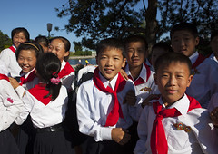 Pioneers At Songdowon International Children's Camp, Wonsan, North Korea, North Korea (Eric Lafforgue) Tags: holiday color colour smile smiling horizontal asian clothing uniform asia day leisure pioneer northkorea lifestyles dprk redscarf lookingatcamera northkorean democraticpeoplesrepublicofkorea wonsan img8397 songdowon largegoupofpeople