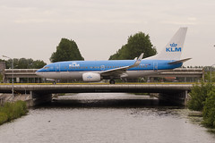 KLM over the canal. (Adrian Williams | P H O T O G R A P H Y) Tags: bridge water dutch canal flying nikon royal boeing klm airlines 700 737 dutchman d7000 phbgx
