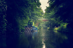 (cxcraw) Tags: bridge trees reflection water rain weather river scotland boat canal foliage barge falkirk