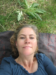 in blue (Ladybadtiming) Tags: blue green me nature face grass lady cool nice picnic resting onehanded