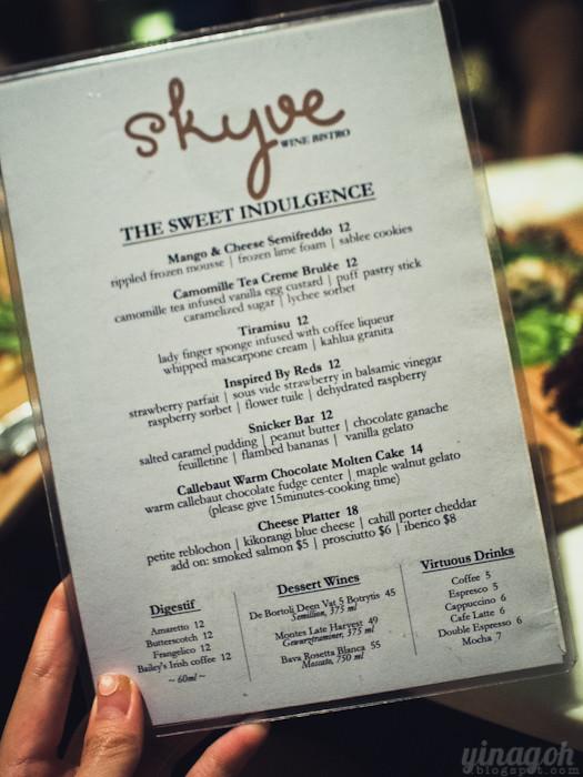Skyve Wine Bistro Dessert Menu