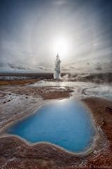 Strokkur (Kristinn R.) Tags: sky sun clouds iceland nikon strokkur hotsprings d3x nikonphotography kristinnr