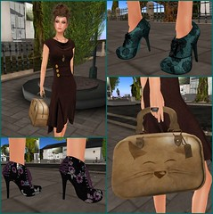 Hunt Items: Perch Brown Dress, Prism Ankle Booties & Meow Travel Bag (Hidden Gems in Second Life (Interior Designer)) Tags: animals foot shoes prism fair best perch bags cart spca forward hunt