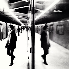 ...And what she found there. (Illusivegent) Tags: blackandwhite toronto underground subway iphonography bureboke