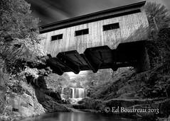 Bissell Bridge (Ed Boudreau) Tags: blackandwhite bw water leaves rock stream fallcolors scenic coveredbridge westernmassachusetts landcsape charlemont bissellbridge massachusettslandscape ladscapephotography longexposuremassachusetts l3pfrbwclassic
