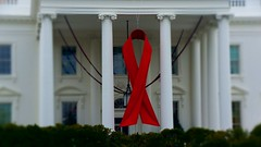 World AIDS Day - Red Ribbon on the White House Portico 33929