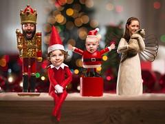2013 Christmas Family Photo (jeremywcox) Tags: santa christmas angel cat lights bokeh figurines nutcracker strobist elfoftheshelf