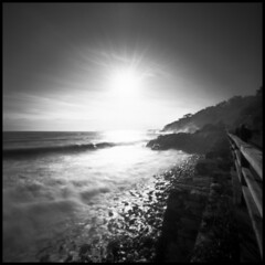 against the sun (Roberto Messina photography) Tags: sea italy 6x6 film analog rocks liguria pinhole varazze analogue february zero2000 zeroimage 2014 adox adonal rolleirpx25