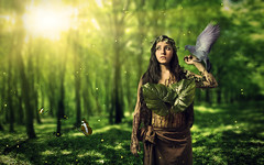Earth (alanericcarter) Tags: lighting light hot green bird nature girl animals yellow composite forest model woods shadows background highlights elements