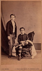 Brothers by Robert Boning (c.1870) (pellethepoet) Tags: portrait england boys kids children europe brothers unitedkingdom siblings photograph cdv cartedevisite eastsussex stripysocks stleonardsonsea robertboning rboning