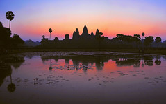 Angkor Wat Sunrise (kingdomany) Tags: world city travel light sunset people color green heritage beautiful smile sunshine weather yellow stone architecture forest sunrise temple photo ancient nikon scenery cambodia flickr tour buddha culture monk buddhism angkorwat carving siemreap angkor wat emperor  d90