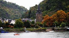 Braubach on the Rhine (Mark Wordy) Tags: autumn church leaves river germany deutschland colours vineyards valley grapes rhein slope rhinecruise braubach