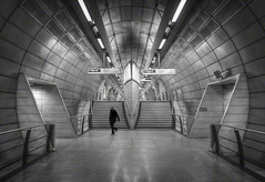 man in the tube (Jon Downs) Tags: uk bw white man black blur london art monochrome station digital canon downs underground eos mono photo high jon flickr artist hand dynamic image tube picture pic photograph 7d held range hdr southwark lunaphoto jondowns