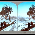 A MAN AND HIS HORSE ON THE LONE-PINE TRAIL -- A WINTER LANDSCAPE in OLD JAPAN thumbnail
