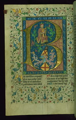"Breviary, Initial ""B"" with David playing the harp, and heraldic shield, Walters Manuscript W.83, fol. 7v"
