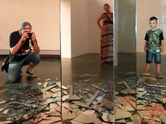 triptych (maximorgana) Tags: camera reflection glass hat bag pregnant reflected converse shorts smashed triplets juanjo mariajose