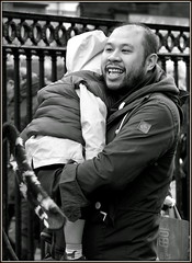 A happy daddy (* RICHARD M (Over 6 million views)) Tags: street candid portraits portraiture streetportraits streetportraiture candidportraits candidportraiture mono blackwhite happyfather happydaddy smiles liverpoolchinatown chinatown chineseman chinesenewyear kungheifatchoi konghayfatchoy liverpool liverpudlians liverpudlianchinese scousers chinesescouser chineseliverpudlians chinesescousers balding beard bearded whiskers bewhiskered ethnicity merseyside unescomaritimecity maritimecity europeancapitalofculture capitalofculture