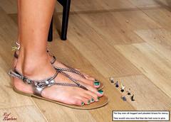 Beggars on the Floor (Red Neptune) Tags: giantess gts feet sandals shrunkenman sm shrunkenmen