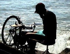 British Sea Drummer (brightondj) Tags: sea man beach bike bicycle coast seaside brighton waves drum percussion instrument drummer drumming rottingdean undercliffpath