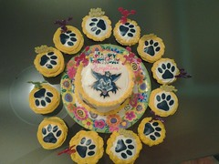 Cheeleader cake and cupcakes by Brenda L, Santa Cruz CA, www.birthdaycakes4free.com