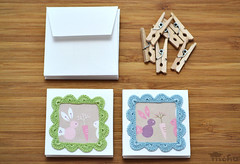 Pastel crochet frame note cards (mohu mohu) Tags: blue green bunnies set square japanese spring handmade pastel small crochet cottage mini card blank frame kawaii carrots stationery greeting notecard dainty zakka mohu mohustore