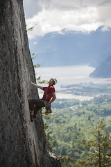 Conrad - Persistence (Teacozy Design & Photography) Tags: red rock shirt nikon f14 85mm climbing granite howesound squamish tra d3 blackdiamond montbell metolius petzl mammut arcteryx lasportiva thetopshelf