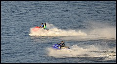 Jetski Duo (B1GBAD) Tags: travel sea film beach beauty speed coast boat interesting spain scenery wake sanjose playa helicopter drugs paraiso almeria cabodegata parquenatural paraisonatural bellezanatural playasandalucia almeriaturistica hmsspaincom