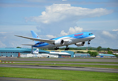 TOM 787 GEnx @ PIK (Enda Healy) Tags: new weather lens airplane scotland flying nikon aircraft aviation sunny landing thomson boeing nikkor ge takeoff prestwick caledonian genx 787 d90 turbofan dreamliner