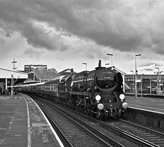 'Clan Line' at Clapham (Deepgreen2009) Tags: sky monochrome rain weather train pacific railway stormy steam pullman april showers vsoe bulleid uksteam