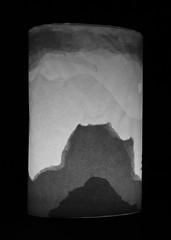 Gwyn ar Wyn / Still think it might be ink on paper? (FfotoMarc) Tags: mountain art paper photography design silhouettes craft lantern allrightsreserved sumie celf ffotograffiaeth papur dylunio foundationartdesign llusern universityofsouthwales prifysgoldecymru cedwirpobhawlfraint copyrighthawlfraintmarcevans2013