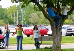 Missing Summer Already (FrogLuv) Tags: girls tree bicycle climb women photographer michigan bluejeans harrisontownship metroparks huronclintonmetroparks harrisontwp huronclinton metrobeachpark