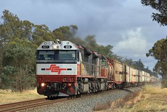 SCT010 and SCT007 rocket through the old Wal Wal station site on PM9 SCT service (bukk05) Tags: specialisedcontainertransport sctlogistics australia artc freight flickr horsepower hp locomotive loco photography photo tracks train railroadstation railwaystation sg 2013 sct010 sct007 sctclass sct walwal wimmera am9 adelaide melbourne vans standardgauge stawell horsham murtoa lubeck spring railway railroad railpage rp3 rail station westernstandardgaugeline jamesbond 007 explore wheat harvest container