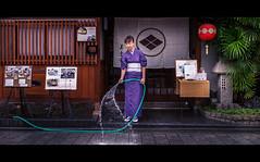 Water Lady (QuantumLogic (Slow)) Tags: street city portrait people urban woman tree water japan restaurant kyoto candid widescreen sony wideangle kimono gion lantern unposed cinematic lightroom waterhose a57 1650 blackbars sonyalpha sonylens slta57