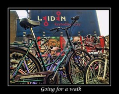 Going for a walk (gill4kleuren - 14 ml views) Tags: colors station leiden bikes fietsen centraal