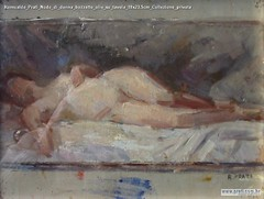 Romualdo Prati Nudo di donna bozzetto olio su tavola 18x23.5cm Collezione privata