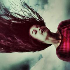 gravity who? (~mimo~) Tags: newzealand sky girl mobile clouds hair happy wind stripes joy gravity flip otago iphone roaringmeg mimokhairphotography