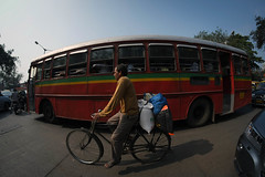 Man on bicycle (Daniel Incandela) Tags: city india streets bus bicycle asia traffic busy bombay mumbai