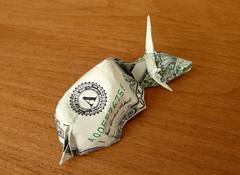 Origami Dollar Sleeping Bull. ($ craigfoldsfives) Tags: money origami dollar fold moneyorigami dollarbillorigami dollarorigami craigfoldsfives craigsonnenfeld